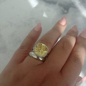 Brilliant canary color cubic zirconia 925 SS ring